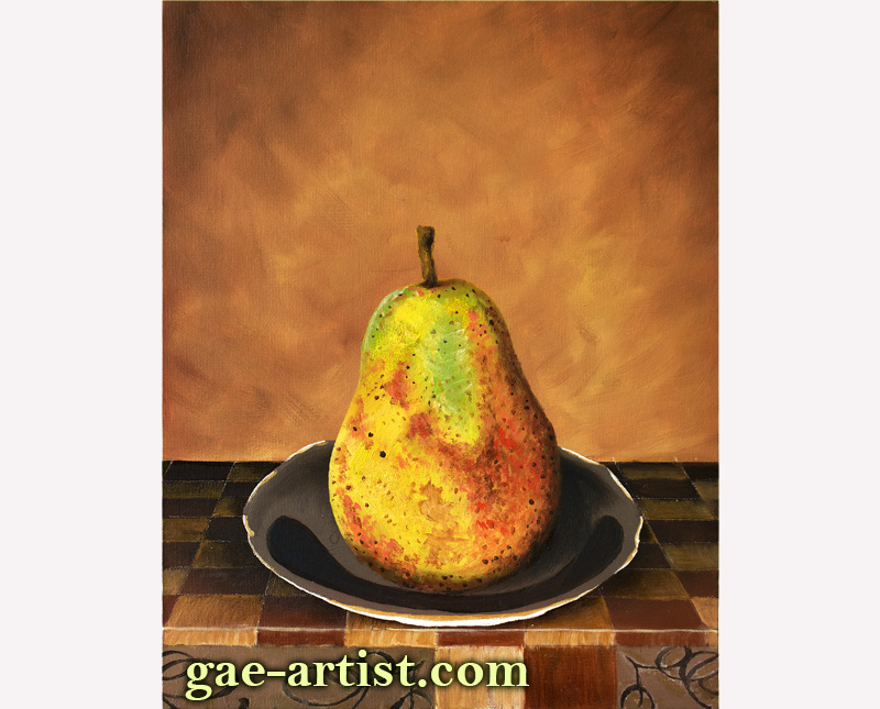 Oil painting of a pear